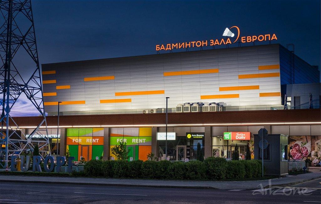 Светещи букви Бадминтон зала Европа- покривна реклама