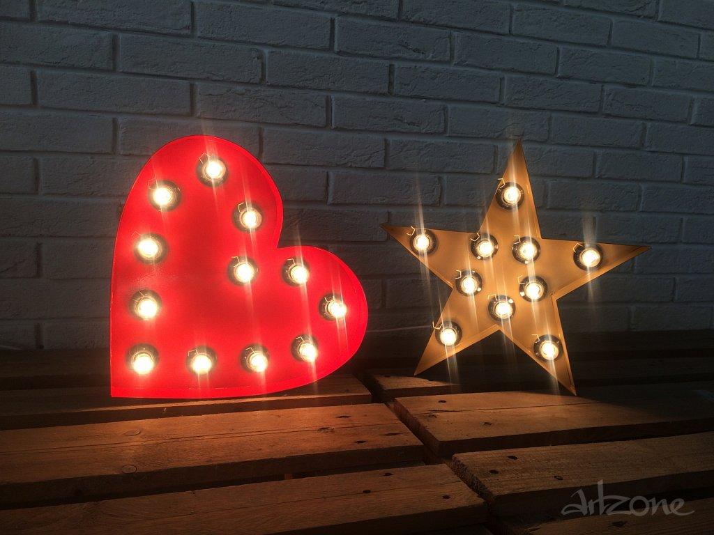 Светеща звезда и светещо сърцеheart light up and a star light up]]