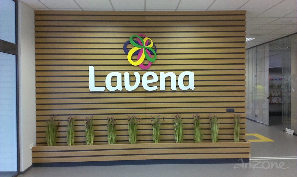 Обемни букви LAVENA рекламен надпис за офис