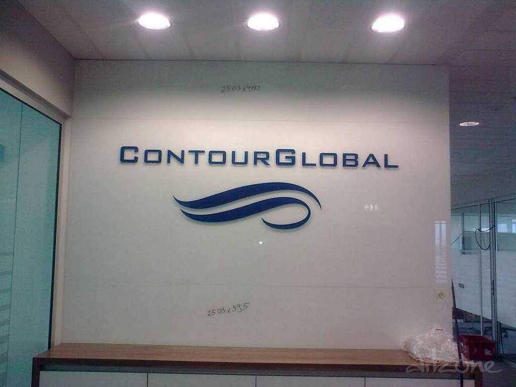 Обемни букви лого Contour Global за офис на фирмата