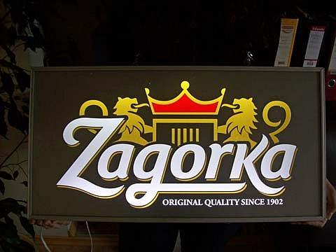 Светеща табела Zagorka прорязан еталбонд със светещи букви
