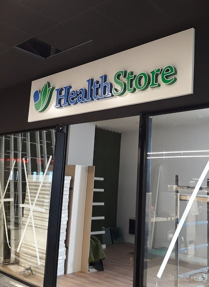Светеща табела Health Store -светещи букви