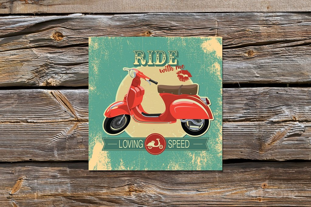 Ride with me - vespa sign