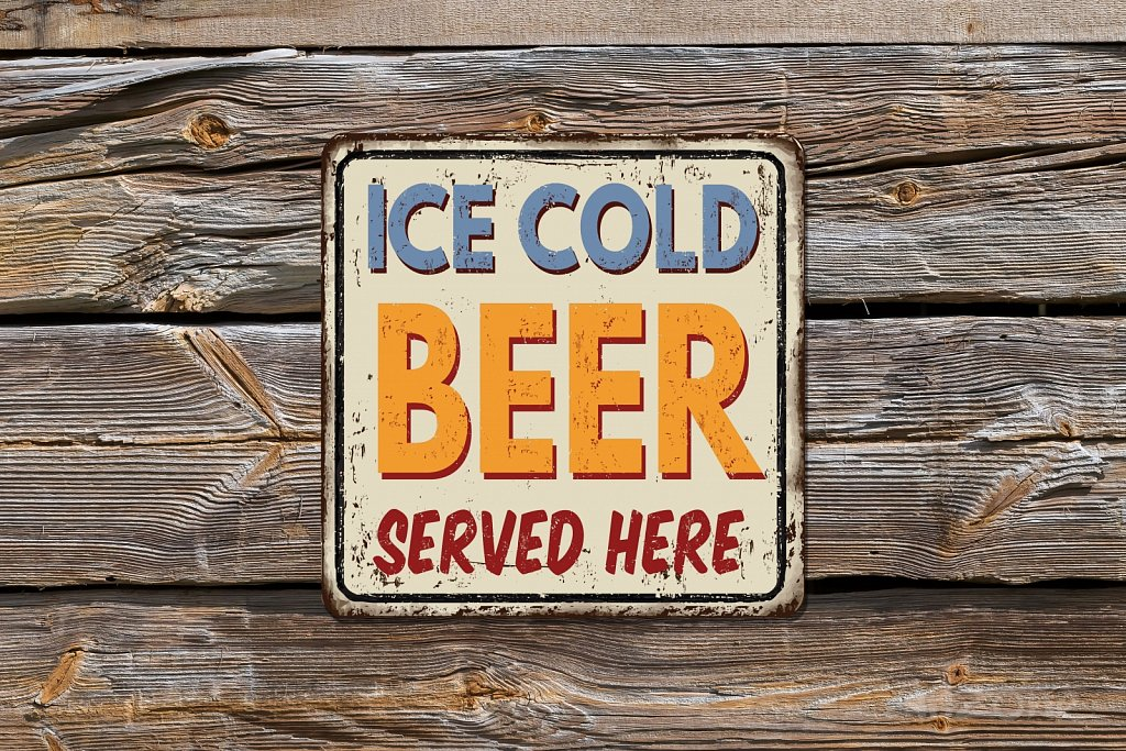 ICE COLD BEER served here sign