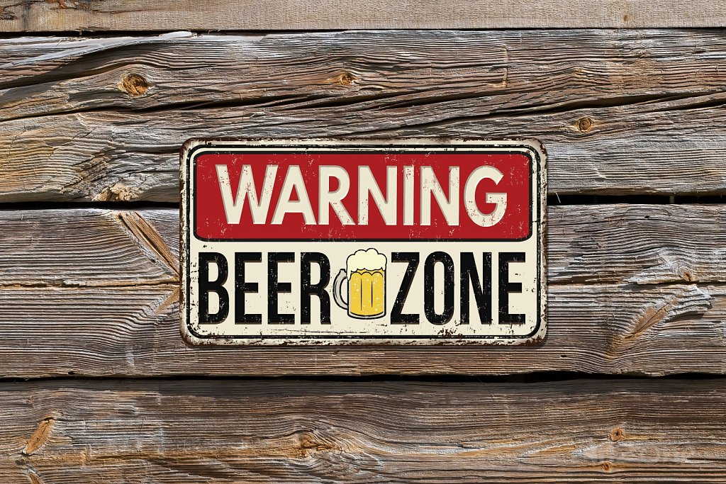 WARNING beer zone sign