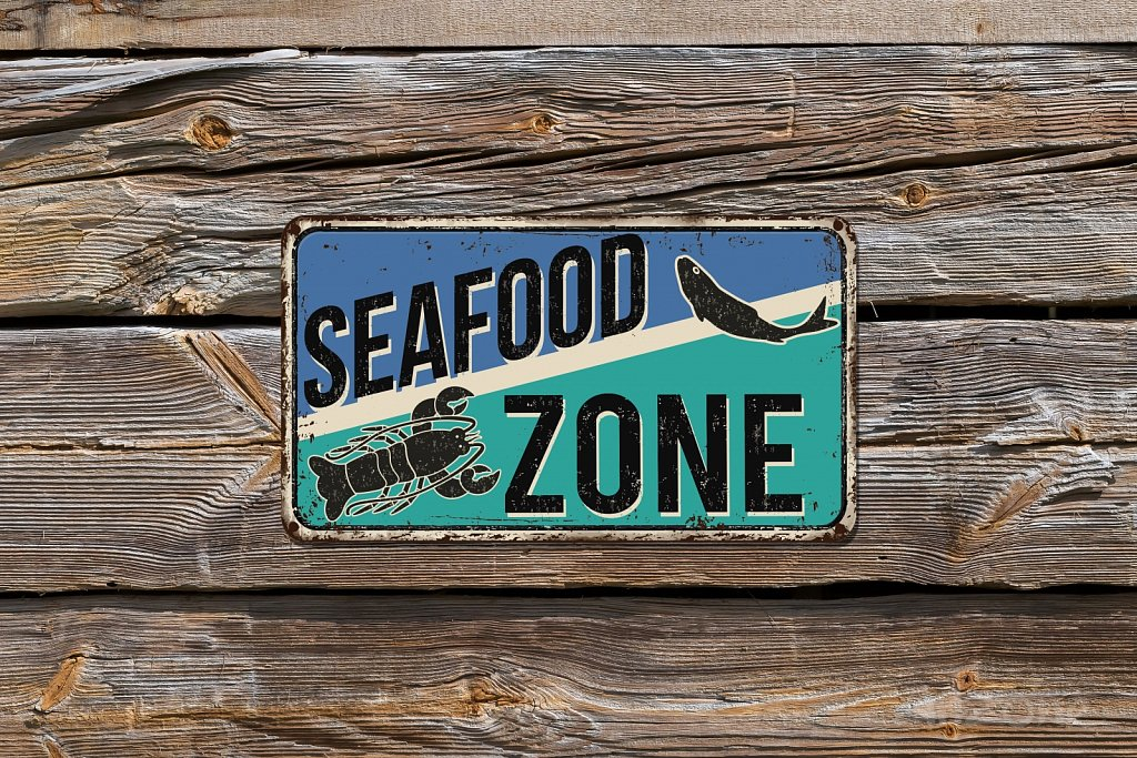SEAFOOD zone sign