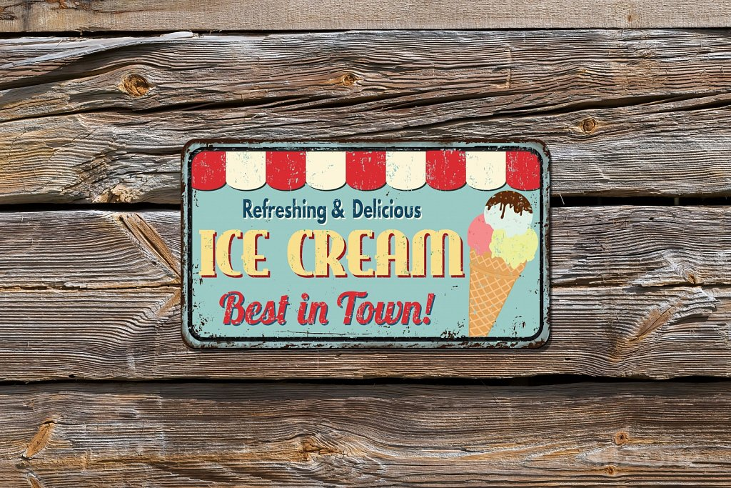 Ice Cream best in town sign