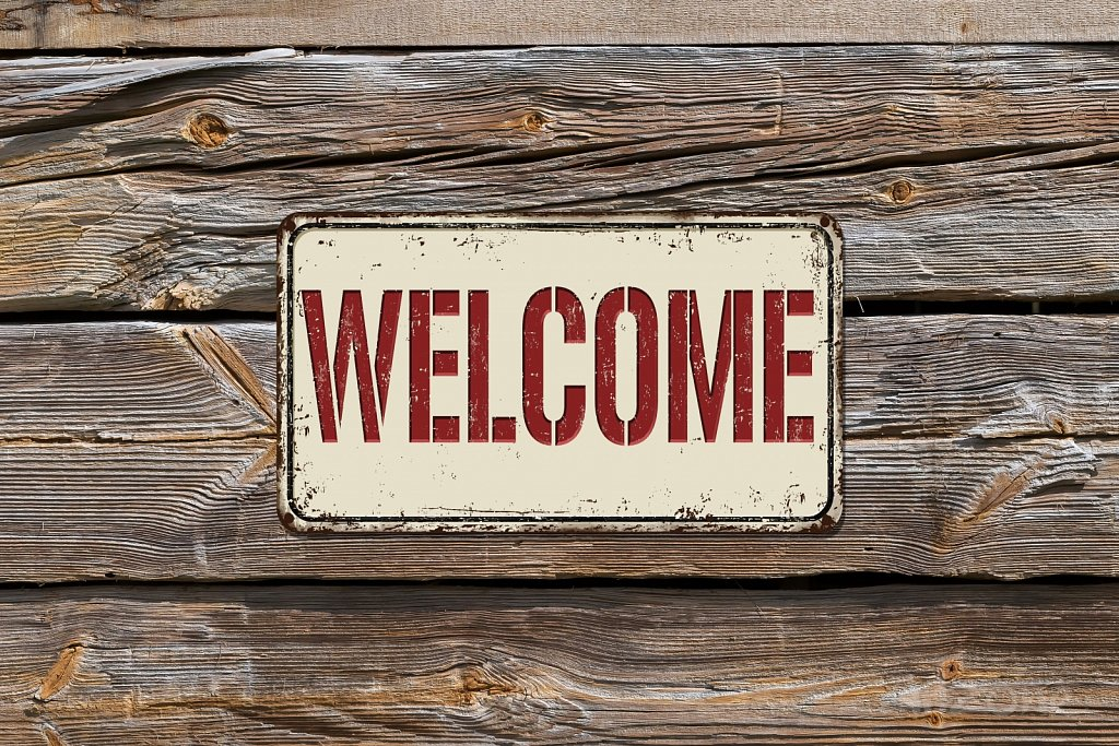 Welcome door sign