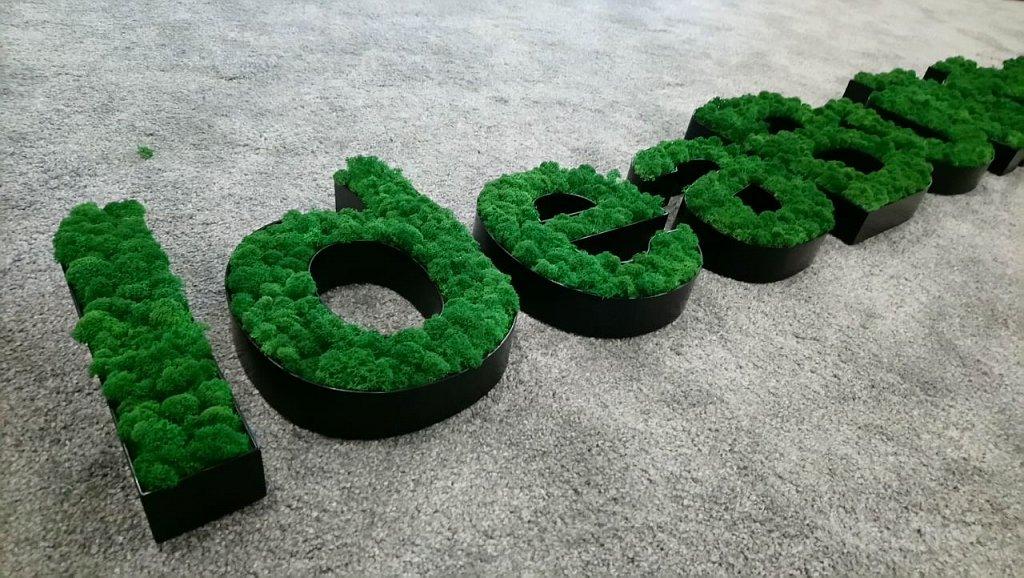Обемни букви с Декоративен Скандинавски Мъх